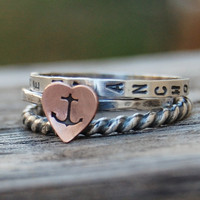 You Are My Anchor  - Stacking Ring Set - Hand Stamped - Recycled Sterling Silver and a Copper Heart- Your Size