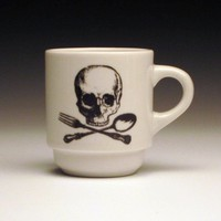 set of 2 skull and cross utensils ESPRESSO cups