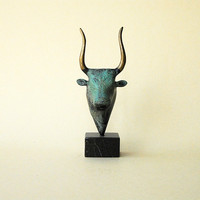 Bronze Minotaur Verdigris Greek Minoan Sculpture