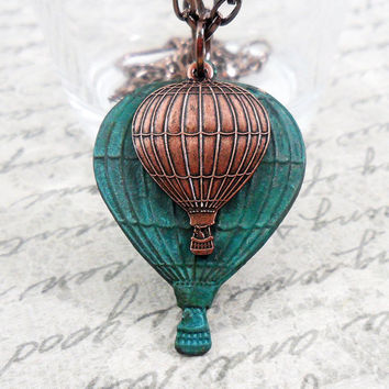 Hot Air Balloon Necklace Verdigris Brass by PeriwinkleParadise