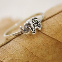 Cute Elephant Sterling Silver Ring from Charmaco