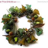 On Sale 25% off Beaded Jewellery Charm Bracelet Antique Brass chunky chain Green Brown Gold Lucite Flowers Lampwork Beads