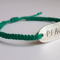 Hemp Bracelet, Peace, green macrame, adjustable size