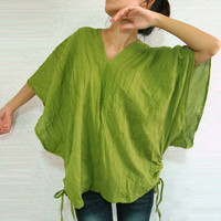 Apple Green 'Karen' - Boho Oversized V Neck Cotton Blouse - Kimono Sleeve Shirt
