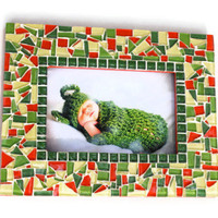 Red and Green Mosaic Picture Frame, 4 x 6