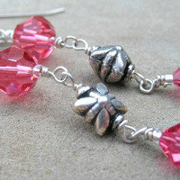 Pink Earrings Sterling Silver Jewelry Wire Wrapped Dangle Earrings