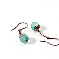 Green Agate Oxidized Copper Chain Drop Earrings