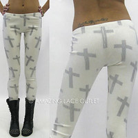 Cross Print Legging Pants Sideways Rock Punk Goth Fashion Trend Stretch