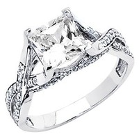 Amazon.com: 14K White Gold High Poliosh Finish Princess-cut 1.75 CTW Equivalent Top Quality Shines CZ Cubic Zirconia Ladies Solitaire Wedding Engagement Ring Band: The World Jewelry Center: Jewelry