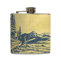 Blue Pine Trees Hip Flask Vintage  Forest by LiquidCourage on Etsy