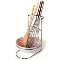 CERAMIC AND CHROME STEEL SPOON REST