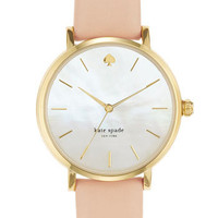 Women's kate spade new york 'metro' round leather strap watch, 34mm - Gold/ Beige