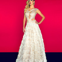 Mac Duggal Prom 2013 - Ivory/Nude Organza Lace Gown - Unique Vintage - Cocktail, Pinup, Holiday &amp; Prom Dresses.