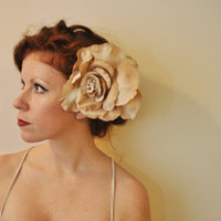 Vintage Burnt Ivory Extra Large Hair Flower Alligator by SewRed