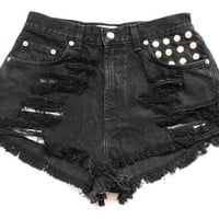 Black high waist denim shorts M
