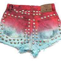 Dip dye high waisted denim shorts S