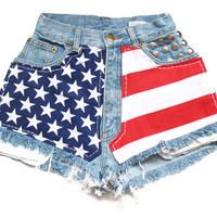 American flag high waisted shorts XXS