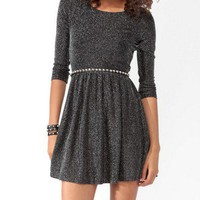 Metallic-Blend Skater Dress