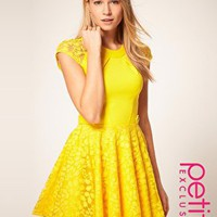 ASOS | ASOS PETITE Exclusive Skater Dress With Lace Skirt And Short Sleeves at ASOS