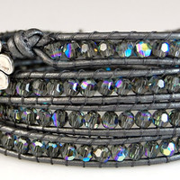 Swarovski Crystal Chan Luu Style Wrap Bracelet - Black Diamond AB - Grey Metallic Leather