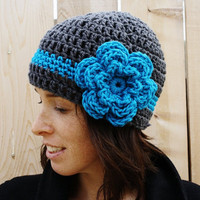 Crochet Cloche Hat in Dark Grey with Bright Turquoise Stripe and Flower