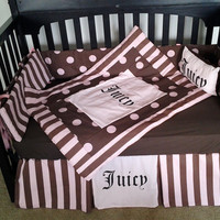 New custom made Juicy Couture full crib bedding set  w/ pink/brown Polka Dot and Stripe fabrics