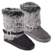 Journee Collection Kid's 'Huffy' Buckle Accent Faux Fur Boots | Overstock.com