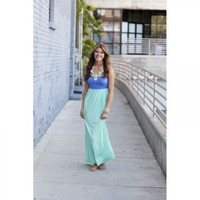 Lavender and Mint Strapless Maxi Dress with Cinched Bust with Two Side Pockets M | Dresses - Modern Vintage Boutique