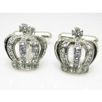 Silver Royal Crown Cufflinks - Novelty Cufflinks
