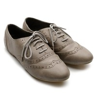 Ollio Women's Classic Dress Oxfords Low Flats Heels Lace Up Grey Shoes