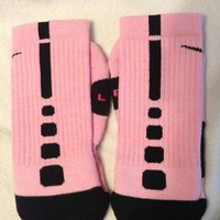 Custom Nike Elite Basketball Socks Pink with Black Stripes Mens Size Medium 6-8