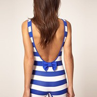 ASOS | ASOS One Piece Swimsuit in Stripe Print with a Bow Detail to back at ASOS