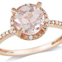 Amazon.com: 10k Rose Gold Morganite and Accent Diamond Ring (0.05 Cttw, G-H Color, I1-I2 Clarity): Jewelry