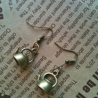 Antique bronze Teapot earrings by Victorianstudio on Etsy