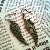 Antique bronze Angel Wings  Earrings by Victorianstudio on Etsy