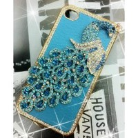 Amazon.com: 1x Luxury Designer Blue Bling Crystal Case Handmade Peacock for Apple Iphone 4 and 4s [Limited Edition]: Cell Phones & Accessories