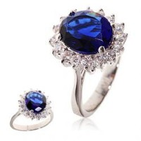 ZT-0171R 6# Fashionable White Gold and Sapphire Inlaid Ring Finger Ornament for Female Woman