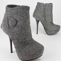 cuffed herringbone bootie &amp;#36;27.00 in GREY - Booties | GoJane.com