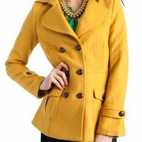 pocketed button peacoat jacket &amp;#36;57.50 in GREEN MUSTARD ORANGE - Outerwear | GoJane.com