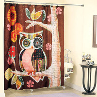 Friendly Owl Owl Friend Bathroom Shower Curtain Towel Hooks Soap Dish Pump Decor