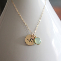 Custom Initial & Gemstone Necklace by TheAlteredChain on Etsy