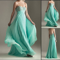 Strapless Chiffon Beaded Bridesmaid Dresses Prom Evening Formal Gowns Custom
