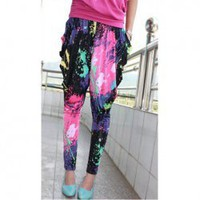 Cool and Refreshing Style Colorful Ink-Panting Harem Pants China Wholesale - Everbuying.com