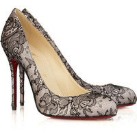 Chistian Louboutin Fifi 100 Satin And Lace Pump