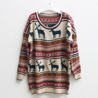 vintage deer classic women patterned sweater-EMS from ClothLess