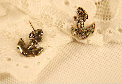 Antique Brass Tone Rhinestone Anchor Stud Earrings at gofavor.com