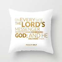 Psalm 34:7 - Gold Throw Pillow by cooledition | Society6