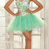 Light Green &amp; Floral Taffeta &amp; Tulle Sweetheart Strapless Short Dress - Unique Vintage - Cocktail, Evening  Pinup Dresses