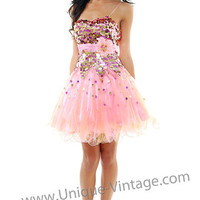 Pink & Yellow Sequins & Tulle Short Party Homecoming Dress-Size 0 to 12 - Unique Vintage - Cocktail, Evening  Pinup Dresses