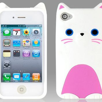 Mycomo 3D Cartoon Cat Silicone Case for iPhone 4S (White)